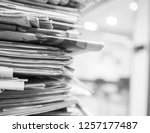 old stack of newspaper ... | Shutterstock . vector #1257177487