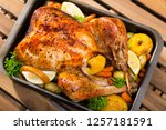 delicious roasted turkey...   Shutterstock . vector #1257181591