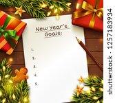 new year's goals concept... | Shutterstock .eps vector #1257183934