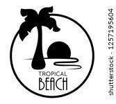black palm tree vector on white ... | Shutterstock .eps vector #1257195604