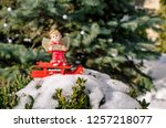 winter angel figure with sleigh ... | Shutterstock . vector #1257218077