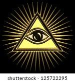 all seeing eye of god   gold  ... | Shutterstock . vector #125722295