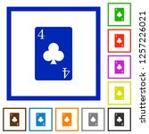 four of clubs card flat color... | Shutterstock .eps vector #1257226021