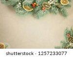 festive greeting card. winter ... | Shutterstock . vector #1257233077