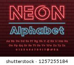 glowing blue and red neon light ...   Shutterstock .eps vector #1257255184