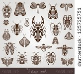 vintage insect silhouette set