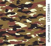 seamless olive brown black and... | Shutterstock .eps vector #1257258844