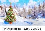 winter landscape in watercolor... | Shutterstock . vector #1257260131