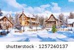 winter landscape in watercolor... | Shutterstock . vector #1257260137