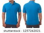 blue t shirt mock up  front and ... | Shutterstock . vector #1257262021