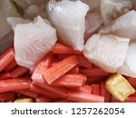 close up fresh fish fillet and... | Shutterstock . vector #1257262054