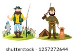 isolated hunter and fisherman.... | Shutterstock .eps vector #1257272644