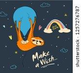 make a wish. cute hand drawn... | Shutterstock .eps vector #1257276787