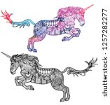 unicorn. doodling coloring. a... | Shutterstock .eps vector #1257282277