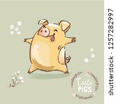 happy pig 2019 new year symbol... | Shutterstock .eps vector #1257282997
