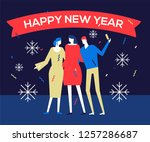happy new year 2019   flat... | Shutterstock .eps vector #1257286687