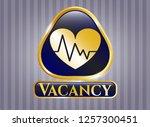 golden badge with heart with... | Shutterstock .eps vector #1257300451