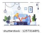 cartoon blonde relaxing with... | Shutterstock .eps vector #1257316891