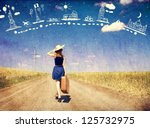 Small photo of Lonely girl with suitcase at country road dreaming about travel.