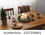 cozy evening tea party by... | Shutterstock . vector #1257334801