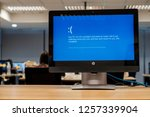 Small photo of BANGKOK, THAILAND - December 13: Computer Room Excise Department on December 13,2018 in Bangkok, Thailand. Monitor computer showing Microsoft Windows 10 error dead blue screen for problem