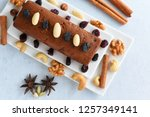 carrot and dates cake made with ... | Shutterstock . vector #1257349141
