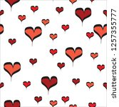 red line art hearts with black... | Shutterstock .eps vector #1257355777