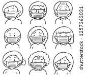 vector set of people using... | Shutterstock .eps vector #1257363031