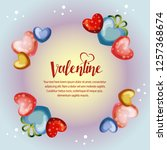 circle colorful valentine frame ... | Shutterstock .eps vector #1257368674