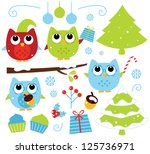 christmas cartoon owls and... | Shutterstock .eps vector #125736971