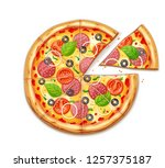 fresh pizza with tomato  cheese ... | Shutterstock .eps vector #1257375187