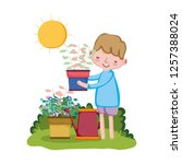 boy lifting houseplant with... | Shutterstock .eps vector #1257388024