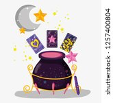 cauldron with cards and magic... | Shutterstock .eps vector #1257400804