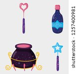 set magic wands with cauldron... | Shutterstock .eps vector #1257400981