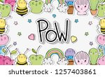 kawaii shells with bees and... | Shutterstock .eps vector #1257403861