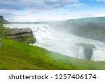 gullfoss falls in summer season ... | Shutterstock . vector #1257406174