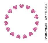 heart frame. cute pink glitter. ... | Shutterstock .eps vector #1257414811