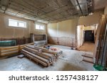 long corridor and room with... | Shutterstock . vector #1257438127