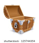 vintage wooden chest with open... | Shutterstock .eps vector #125744354