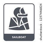 sailboat icon vector on white...   Shutterstock .eps vector #1257446824