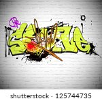 graffiti wall urban background | Shutterstock .eps vector #125744735