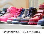 row of the child shoes in a shop   Shutterstock . vector #1257448861