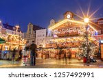 christmas night market place in ... | Shutterstock . vector #1257492991