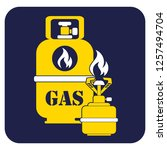 camping stove with gas bottle... | Shutterstock .eps vector #1257494704