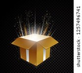 golden vector 3d gift box with... | Shutterstock .eps vector #1257496741