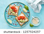 toasts with feta cheese ... | Shutterstock . vector #1257524257
