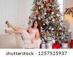 nice and cheerful brunette girl ... | Shutterstock . vector #1257525937