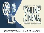 online cinema poster with retro ... | Shutterstock .eps vector #1257538201