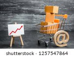 a supermarket cart loaded with...   Shutterstock . vector #1257547864