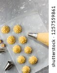 profiteroles  manufacturing... | Shutterstock . vector #1257559861